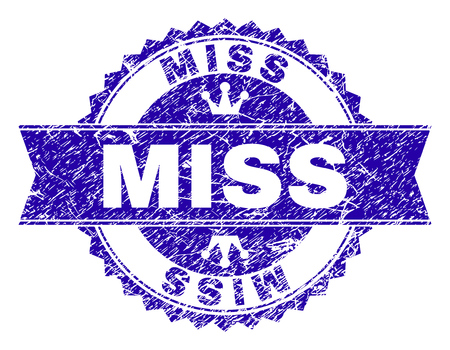MISS rosette stamp imitation with grunge effect. Designed with round rosette, ribbon and small crowns. Blue vector rubber print of MISS text with grunge texture. Illustration