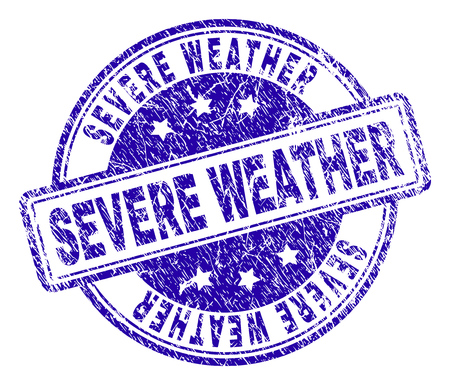 SEVERE WEATHER stamp seal watermark with distress texture. Designed with rounded rectangles and circles. Blue vector rubber print of SEVERE WEATHER caption with grunge texture.