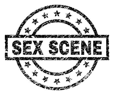 SEX SCENE Stempelsiegel-Wasserzeichen im Distress-Stil. Entworfen mit Rechteck, Kreisen und Sternen. Schwarzer Vektorgummidruck von SEX-SZENE-Text mit unsauberer Textur.