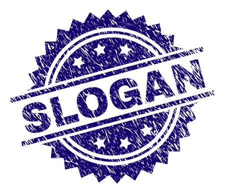SLOGAN stamp seal watermark with distress style. Blue vector rubber print of SLOGAN title with dust texture. Çizim