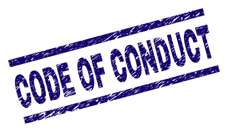 CODE OF CONDUCT seal print with grunge style. Blue vector rubber print of CODE OF CONDUCT title with retro texture. Text title is placed between parallel lines. Illustration