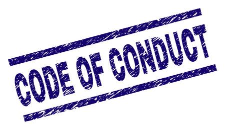 Impresión del sello del CÓDIGO DE CONDUCTA con estilo grunge. Impresión de goma de vector azul del título del CÓDIGO DE CONDUCTA con textura retro. El título del texto se coloca entre líneas paralelas.