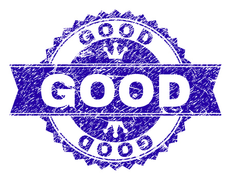 GOOD rosette stamp imprint with grunge texture. Designed with round rosette, ribbon and small crowns. Blue vector rubber watermark of GOOD label with grunge texture. Ilustrace