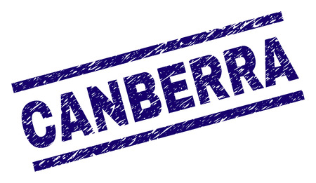 CANBERRA seal print with distress style. Blue vector rubber print of CANBERRA title with scratched texture. Text title is placed between parallel lines.