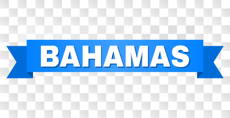 BAHAMAS text on a ribbon. Designed with white title and blue tape. Vector banner with BAHAMAS tag on a transparent background.