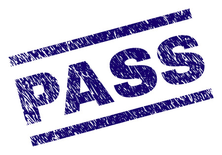 PASS seal print with scratced style. Blue vector rubber print of PASS caption with grunge texture. Text caption is placed between parallel lines. Ilustrace