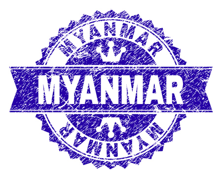 MYANMAR rosette seal overlay with distress style. Designed with round rosette, ribbon and small crowns. Blue vector rubber print of MYANMAR caption with dirty style.