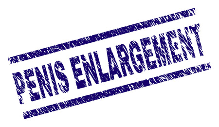 PENIS ENLARGEMENT seal watermark with grunge style. Blue vector rubber print of PENIS ENLARGEMENT caption with dirty texture. Text caption is placed between parallel lines.