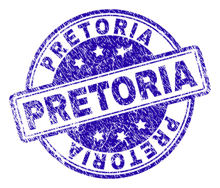 PRETORIA stamp seal imprint with grunge texture. Designed with rounded rectangles and circles. Blue vector rubber print of PRETORIA tag with grunge texture. Illustration