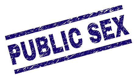 PUBLIC SEX-Siegeldruck im Distress-Stil. Blauer Vektorgummidruck von PUBLIC SEX-Text mit Retro-Textur. Die Textbeschriftung wird zwischen parallelen Linien platziert.