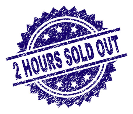 2 HOURS SOLD OUT stamp seal watermark with distress style. Blue vector rubber print of 2 HOURS SOLD OUT label with corroded texture. Illustration