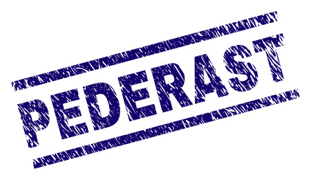 PEDERAST seal stamp with distress style. Blue vector rubber print of PEDERAST caption with corroded texture. Text caption is placed between parallel lines.