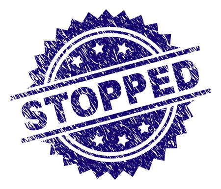 STOPPED stamp seal watermark with distress style. Blue vector rubber print of STOPPED title with grunge texture.