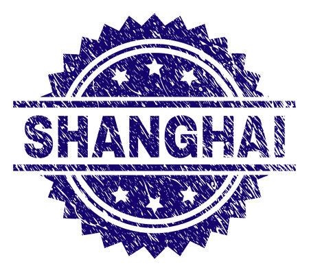 SHANGHAI stamp seal watermark with distress style. Blue vector rubber print of SHANGHAI title with unclean texture.
