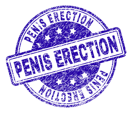 PENIS ERECTION stamp seal imprint with grunge texture. Designed with rounded rectangles and circles. Blue vector rubber print of PENIS ERECTION tag with dirty texture. Vettoriali