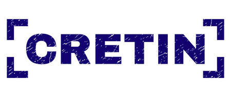 CRETIN title seal print with grunge style. Text title is placed inside corners. Blue vector rubber print of CRETIN with retro texture.