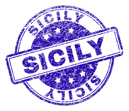 SICILY stamp seal watermark with grunge texture. Designed with rounded rectangles and circles. Blue vector rubber print of SICILY text with grunge texture.