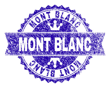 MONT BLANC rosette stamp seal watermark with grunge texture. Designed with round rosette, ribbon and small crowns. Blue vector rubber watermark of MONT BLANC title with unclean style.