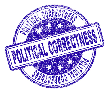 POLITICAL CORRECTNESS stamp seal imprint with grunge texture. Designed with rounded rectangles and circles. Blue vector rubber print of POLITICAL CORRECTNESS title with grunge texture.