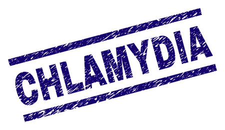CHLAMYDIA seal print with scratced style. Blue vector rubber print of CHLAMYDIA text with dirty texture. Text caption is placed between parallel lines. Ilustrace
