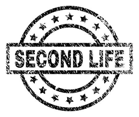 SECOND LIFE stamp seal watermark with distress style. Designed with rectangle, circles and stars. Black vector rubber print of SECOND LIFE title with unclean texture.