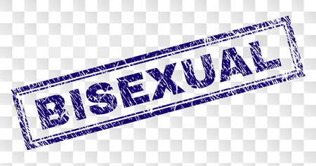 BISEXUAL stamp seal print with distress style and double framed rectangle shape. Stamp is placed on a transparent background. Blue vector rubber print of BISEXUAL caption with dirty texture.