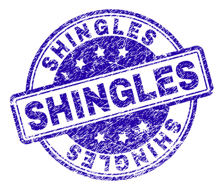 SHINGLES stamp seal imprint with distress texture. Designed with rounded rectangles and circles. Blue vector rubber print of SHINGLES title with dust texture.