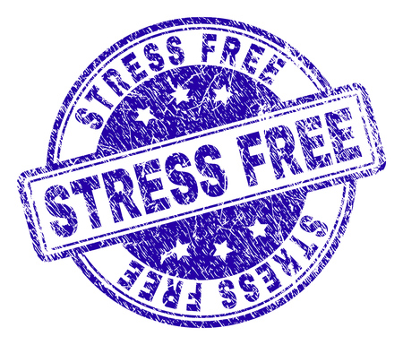 STRESS FREE stamp seal watermark with grunge texture. Designed with rounded rectangles and circles. Blue vector rubber print of STRESS FREE title with scratched texture.