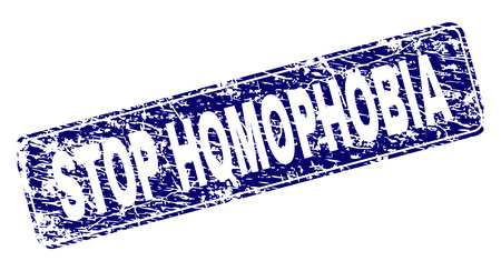 STOP HOMOPHOBIA stamp seal print with grunge texture. Seal shape is a rounded rectangle with frame. Blue vector rubber print of STOP HOMOPHOBIA caption with grunge texture. Illustration
