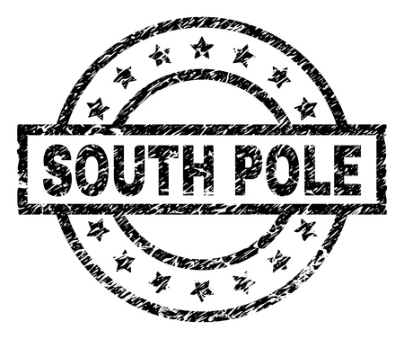 SOUTH POLE stamp seal watermark with distress style. Designed with rectangle, circles and stars. Black vector rubber print of SOUTH POLE text with retro texture.