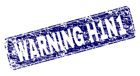 WARNING H1N1 stamp seal print with distress texture. Seal shape is a rounded rectangle with frame. Blue vector rubber print of WARNING H1N1 title with unclean texture.