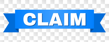 CLAIM text on a ribbon. Designed with white caption and blue stripe. Vector banner with CLAIM tag on a transparent background.