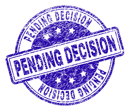 PENDING DECISION stamp seal imprint with grunge texture. Designed with rounded rectangles and circles. Blue vector rubber print of PENDING DECISION caption with grunge texture. Vectores