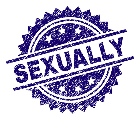 SEXUALLY stamp seal watermark with distress style. Blue vector rubber print of SEXUALLY tag with grunge texture.