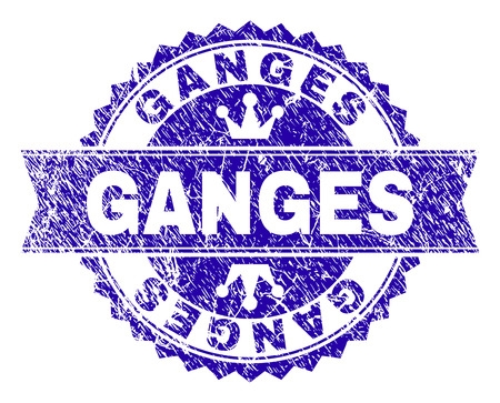 GANGES rosette stamp seal watermark with distress texture. Designed with round rosette, ribbon and small crowns. Blue vector rubber watermark of GANGES title with retro texture. Illustration