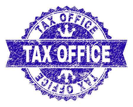 TAX OFFICE rosette stamp seal watermark with grunge texture. Designed with round rosette, ribbon and small crowns. Blue vector rubber watermark of TAX OFFICE label with unclean style.