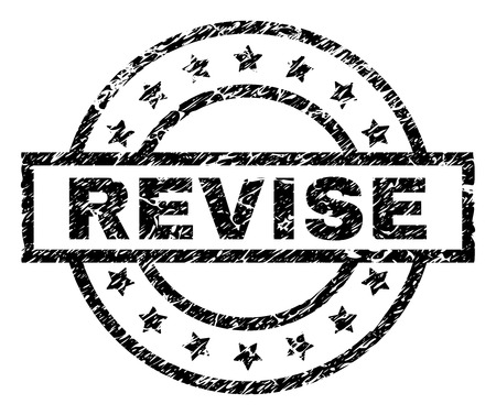 REVISE stamp seal watermark with distress style. Designed with rectangle, circles and stars. Black vector rubber print of REVISE tag with grunge texture.