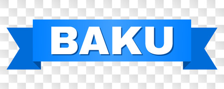 BAKU text on a ribbon. Designed with white title and blue stripe. Vector banner with BAKU tag on a transparent background. Illustration