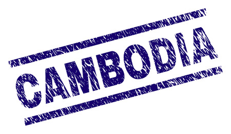CAMBODIA seal print with distress style. Blue vector rubber print of CAMBODIA label with unclean texture. Text label is placed between parallel lines.