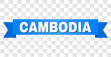 CAMBODIA text on a ribbon. Designed with white title and blue tape. Vector banner with CAMBODIA tag on a transparent background.