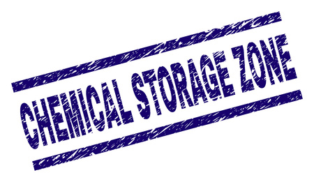 CHEMICAL STORAGE ZONE seal print with grunge style. Blue vector rubber print of CHEMICAL STORAGE ZONE title with dirty texture. Text title is placed between parallel lines.