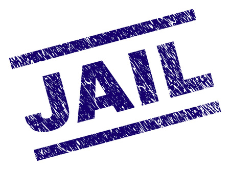 JAIL seal print with distress style. Blue vector rubber print of JAIL title with grunge texture. Text title is placed between parallel lines.