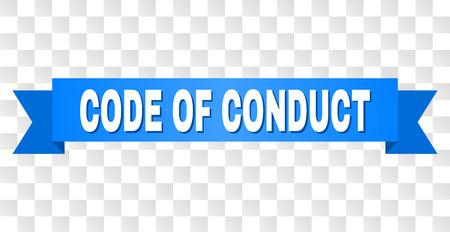 CODE DE CONDUITE texte sur un ruban. Conçu avec une légende blanche et du ruban bleu. Bannière vectorielle avec étiquette CODE DE CONDUITE sur fond transparent.