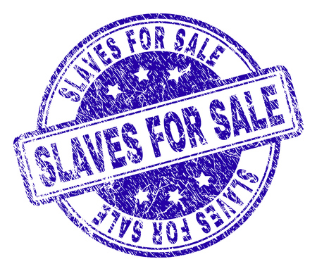 SLAVES FOR SALE stamp seal watermark with grunge style. Designed with rounded rectangles and circles. Blue vector rubber print of SLAVES FOR SALE tag with grunge texture.