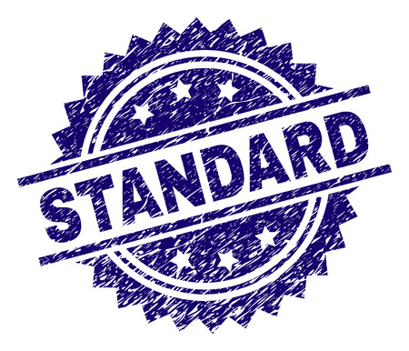STANDARD stamp seal watermark with distress style. Blue vector rubber print of STANDARD text with corroded texture.