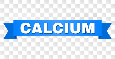 CALCIUM text on a ribbon. Designed with white title and blue tape. Vector banner with CALCIUM tag on a transparent background.