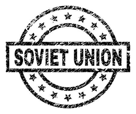 SOVIET UNION stamp seal watermark with distress style. Designed with rectangle, circles and stars. Black vector rubber print of SOVIET UNION caption with unclean texture.