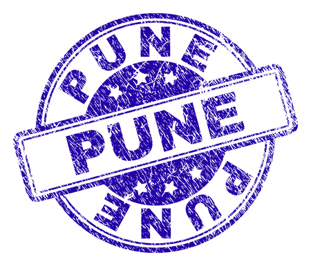 PUNE stamp seal watermark with distress texture. Designed with rounded rectangles and circles. Blue vector rubber print of PUNE caption with unclean texture.