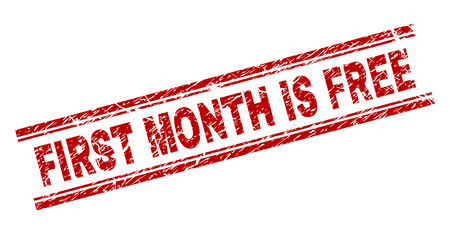 FIRST MONTH IS FREE seal print with distress texture. Red vector rubber print of FIRST MONTH IS FREE text with grunge texture. Text tag is placed between double parallel lines. Banque d'images - 125918353