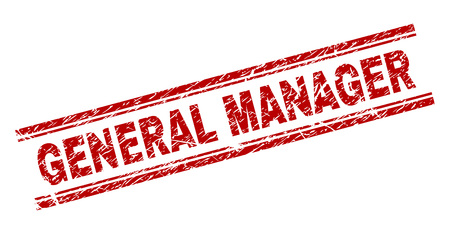 GENERAL MANAGER seal watermark with corroded texture. Red vector rubber print of GENERAL MANAGER label with scratched texture. Text label is placed between double parallel lines. Vector Illustration